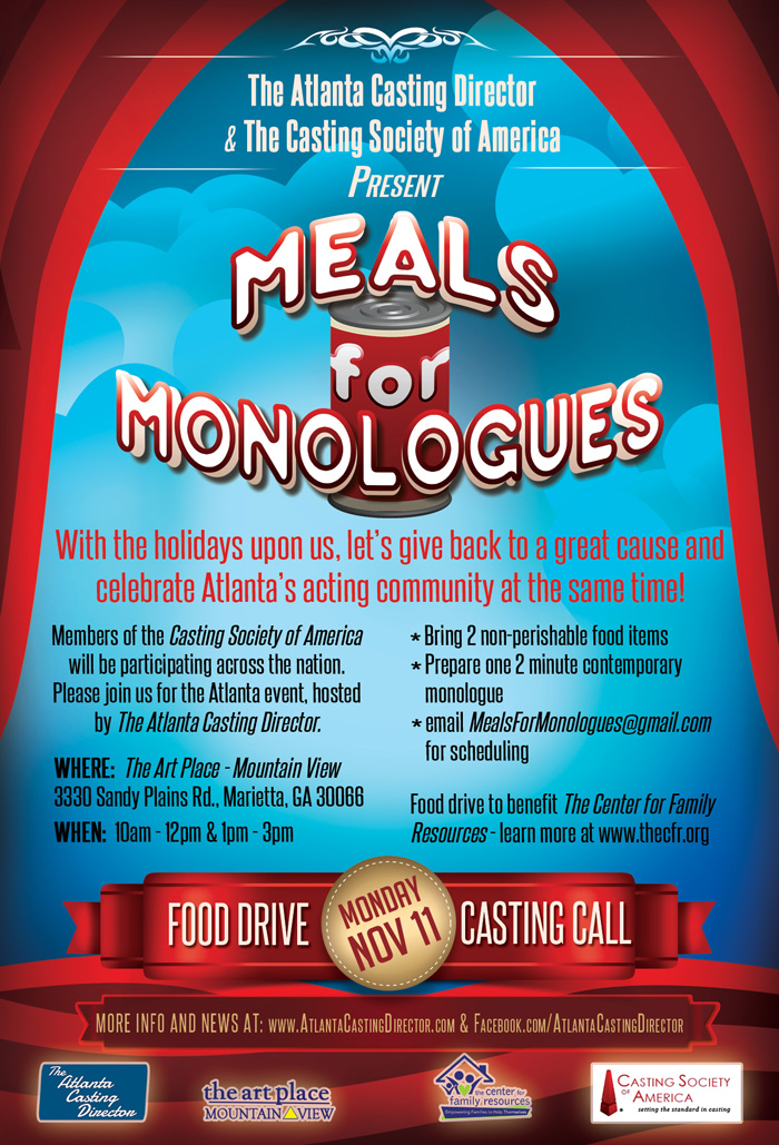 Meals for Monologues presented by The Atlanta Casting Director and the Casting Society of America 2013 Poster and logo